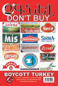 The Boycott Turkey Campaign (boycott, selena, tukas, sera, mis, marmara, sirma, tamek, simsek, zeyno, gesas, selena, marmaraarius, 869, products)