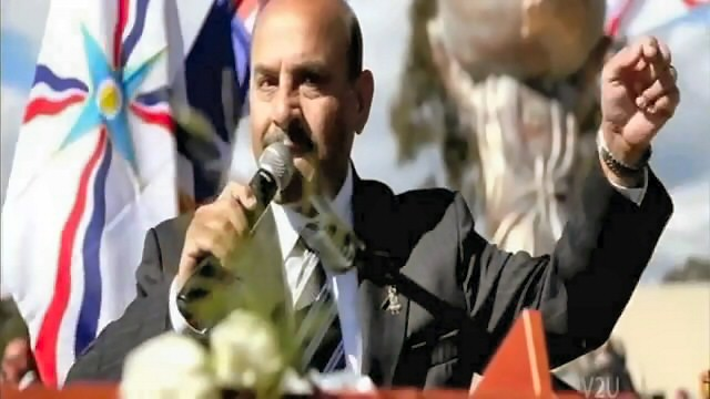 Ninos Aho, the great Assyrian poet, at the Assyrian Genocide Commemoration in Sydney, Australia, on August 7th, 2010.