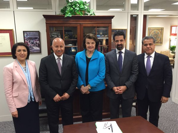 In this April 2016 photograph, Falah Mustafa Bakir (right), Kurdish Regional Government (KRG) Foreign Minister, and Qubad Talabani, KRG Prime Minister and representative to the US standing together as they successfully lobbied the U.S. Washington Administration for $415,000,000 for the Peshmerga military forces.