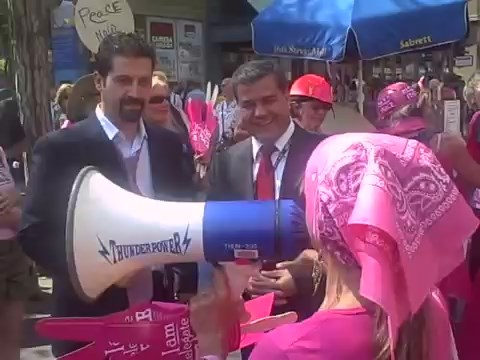 "Qubad Talabani and Falah Mustafa Bakir both appear in the previous video displayed above at the 2008 Code Pink peace demonstration during their visit to the U.S. to seek financial and military support for the KRG.  A nervous Qubad murmurs to Falah about the ""All Troops Out Of Iraq Now"" signage and hurriedly excuse themselves to lunch."