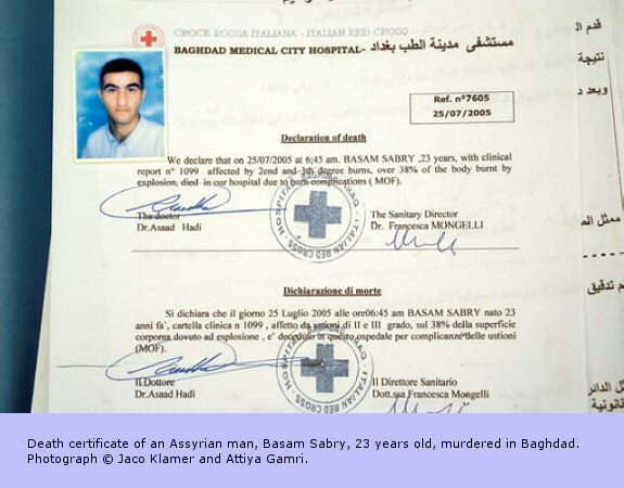 Death certificate of an Assyrian man, Basam Sabry, 23 years old, murdered in Baghdad.
