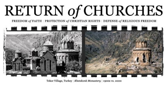 Return of Churches | Freedom of Faith | Protection of Christian Rights | Defense of Religious Freedom.  Tekor Village, Turkey, Khetzkonk Monastery, 1900s vs. 2000.