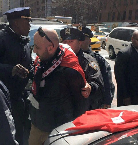 Turkish man arrested in Armenian Genocide demonstration in New York City, New York, April 25, 2015.