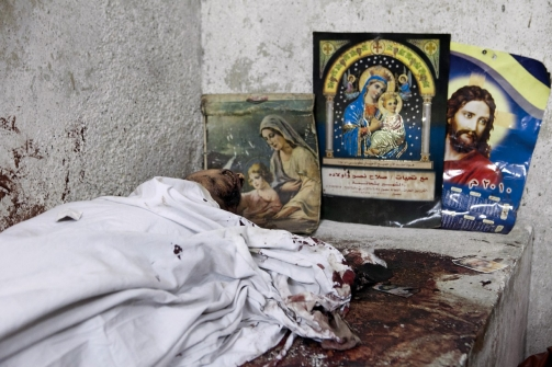 At least 24 Coptic Christians were killed in Cairo during clashes with the Egyptian Army on Oct. 9., 2011. Photograph: Thomas Hartwell / Redux