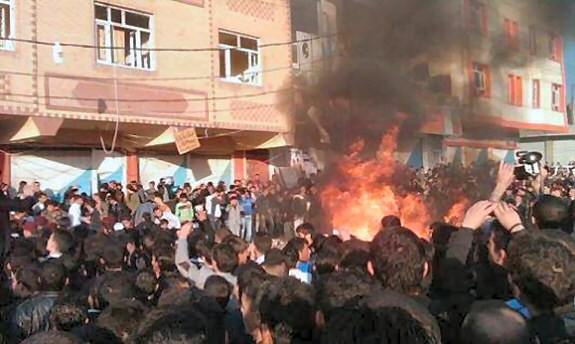 A scene from Zakho's Friday riots in northern Iraq. Photo: Rudaw.