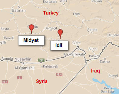 Midyat and Idil, Turkey.  Google Maps.