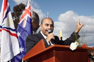 Ninos Aho at the unveiling of the Assyrian genocide monument at Bonnyrigg Park in Sydney, Australia, on August 7th, 2010.