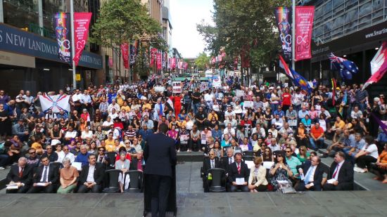 Assyrians standing with Copts in Sydney, Australia on February 22, 2015.