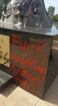 Assyrian Genocide Monument Vandalized in Sydney, Australia on April 16, 2015.
