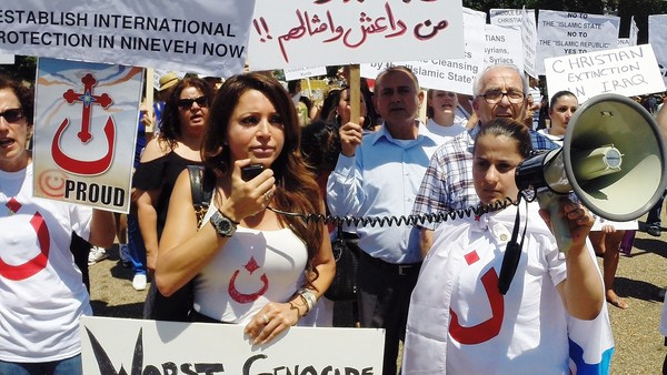Assyrian Americans held a protest outside the White House in Washington, D.C. to call attention to ISIS's alleged religious persecution of Iraqi Christians. Nahren Anweya. Photo: John Lett.