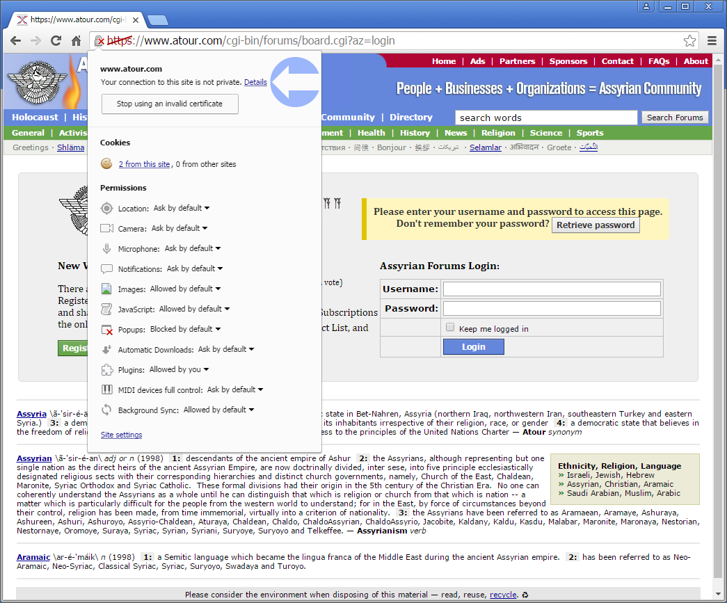 Click on  Details to view the security of the current Assyrian Forums login page.