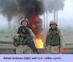 Atheel Andrews (right) with U.S. soldier, Lynch, near Abu Ghrab Prison in Iraq.