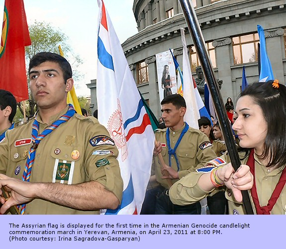 The Assyrian flag is displayed for the first time in the Armenian Genocide candlelight commemoration march in Yerevan, Armenia, on April 23, 2011 at 8:00 PM. (Photo courtesy: Irina Sagradova-Gasparyan)