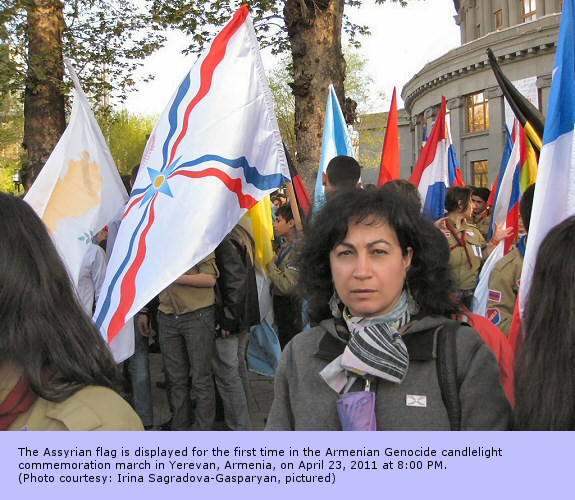 The Assyrian flag is displayed for the first time in the Armenian Genocide candlelight commemoration march in Yerevan, Armenia, on April 23, 2011 at 8:00 PM. (Photo courtesy: Irina Sagradova-Gasparyan, pictured)