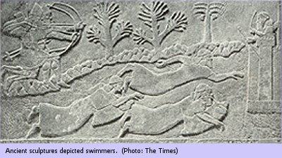 Ancient sculptures depicted swimmers.