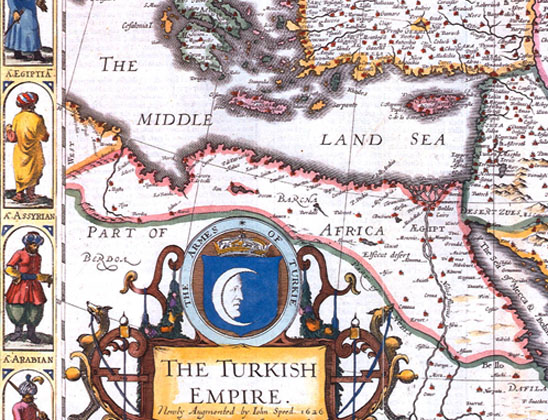 The third person from the bottom left represents Assyrians among the peoples of the Turkish Empire in this 1626 map by John Speed