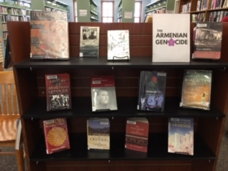 Belmont Massachusetts Public Library displaying Armenian titles.  Photograph: Judith Ananian Sarno.
