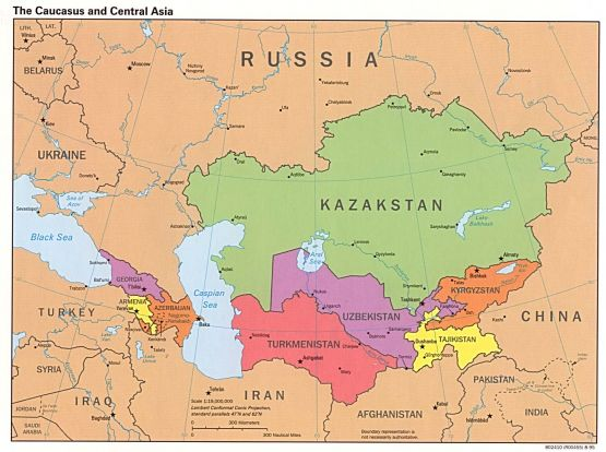 Wikipedia: The Caucasus and Central Asia - Political Map