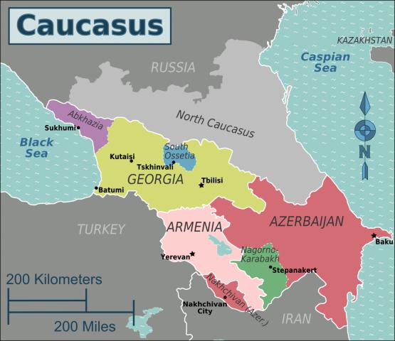 Contemporary political map of the Caucasus