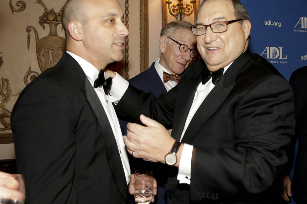 ADL CEO Jonathan Greenblatt, left, and former ADL National Director Abraham Foxman (Credit: New York Post).