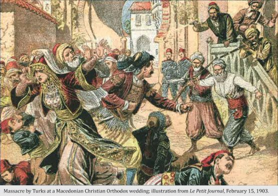 Massacre by Turks at a Macedonian Christian Orthodox wedding; illustration from Le Petit Journal, February 15, 1903.