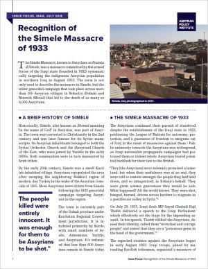 Recognition of the Simele Massacre of 1933