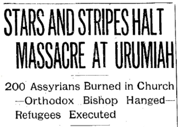 The Lowell Sun - Lowell, Massachusetts - Page 1 - March 25, 1915 - Stars and Stripes Halt Massacre at Urumiah - 200 Assyrians Burned In Church (title header)