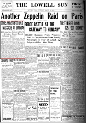 The Lowell Sun - Lowell, Massachusetts - Page 1 - March 25, 1915 - Stars and Stripes Halt Massacre at Urumiah - 200 Assyrians Burned In Church (newspaper front cover)