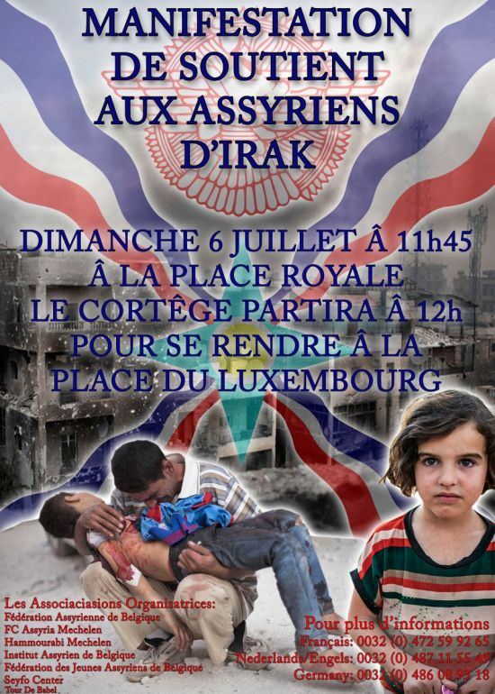 Europe, Belgium: Assyrian Demonstration in Brussels (French poster)