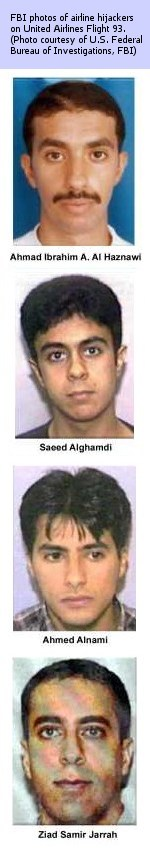 FBI photos of airline hijackers on United Airlines Flight 93.