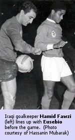 Hamid Fawzi (left) and Eusebio before the game.