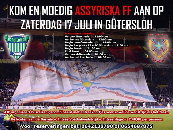 Kom En Moedig Assyriska FF Aan Op Zaterdag 17 Juli in Gutersloh
